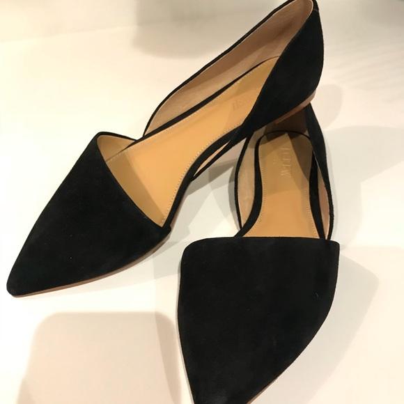 3131cf5b8122 J. Crew Shoes | Suede Black Pointy Toe Flats | Poshmark
